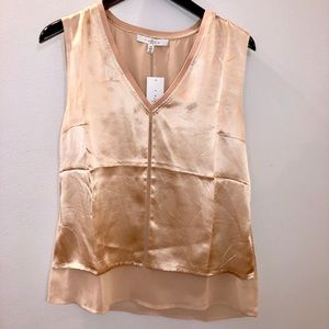 NEW - Satin & Chiffon Champagne Blouse